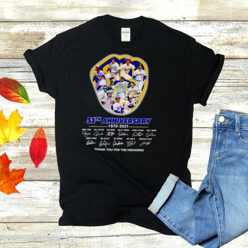 Milwaukee Brewers 51th Anniversary 1970 2021 Signatures Thank You For The Memories Signatures Shirt