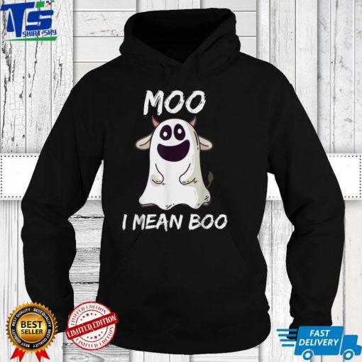 Moo I Mean Boo Ghost Cow Pumpkin Moon Halloween Girls Boys T Shirt