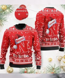 Nebraska Cornhuskers NCAA Symbol Wearing Santa Claus Hat Cute Pattern Ho Ho Ho Custom Personalized Ugly Christmas Sweater Wool