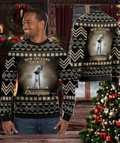 New Orleans Saints Super Bowl Champions NFL Cup Ugly Christmas Sweater Sweatshirt Party