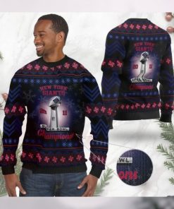 New York Giants Super Bowl Champions NFL Cup Ugly Christmas Sweater Sweatshirt Party