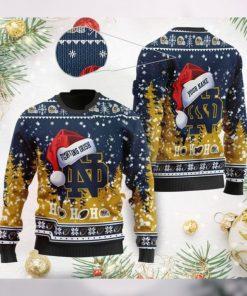 Notre Dame Fighting Irish NCAA Symbol Wearing Santa Claus Hat Cute Pattern Ho Ho Ho Custom Personalized Ugly Christmas Sweat