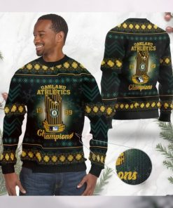 Oakland Athletics World Series Champions MLB Cup Ugly Christmas Sweater Sweatshirt Party