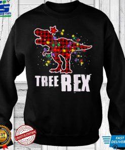 Official Dinosaur Pajamas Tree Rex Christmas Tree Xmas Lights Kids T Shirt
