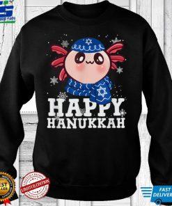 Official Happy Hanukkah Axolotl Kawaii Funny Noel Ugly Sweater T Shirt