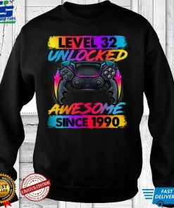 Official Official Level 32 Unlocked Awesome Since 1990 32nd Birthday Gaming T Shirt 1