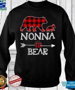 Official Red Plaid Nonna Bear One Cubs Matching Buffalo Pajama Xmas T Shirt