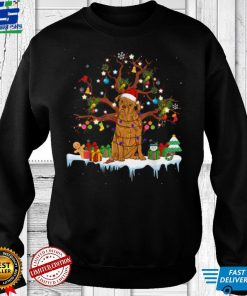 Official Santa Dogue De Bordeaux Dog Wearing Christmas Hat Tree Light T Shirt