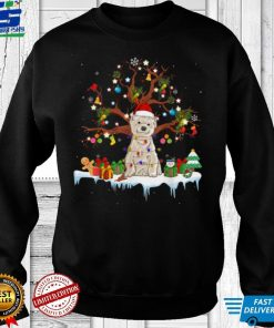 Official Santa West Highland White Terrier Dog Wearing Christmas Hat T Shirt