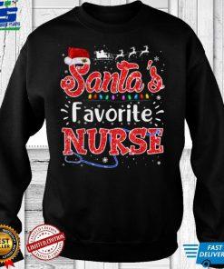 Official Santas Favorite Nurse Christmas Funny Xmas Light Pajamas T Shirt