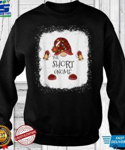 Official Short Gnome Buffalo Plaid Christmas Light Bleached T Shirt