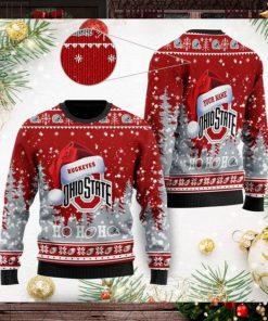 Ohio State Buckeyes NCAA Symbol Wearing Santa Claus Hat Cute Pattern Ho Ho Ho Custom Personalized Ugly Christmas Sweater Woo