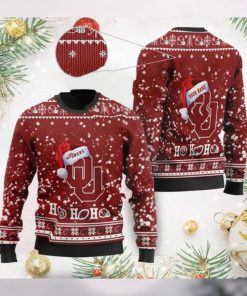 Oklahoma Sooners NCAA Symbol Wearing Santa Claus Hat Cute Pattern Ho Ho Ho Custom Personalized Ugly Christmas Sweater Wool S