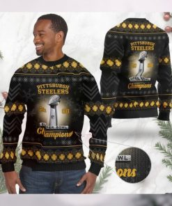 Pittsburgh Steelers Super Bowl Champions NFL Cup Ugly Christmas Sweater Sweatshirt Party