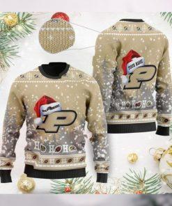 Purdue Boilermakers NCAA Symbol Wearing Santa Claus Hat Cute Pattern Ho Ho Ho Custom Personalized Ugly Christmas Sweater Woo
