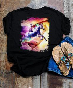 Rainbow Galaxy Cat Riding Unicorn In Space T shirt