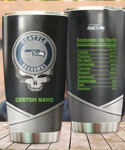 Seattle Seahawks Fan Facts Super Bowl Champions American NFL Football Team Logo Grateful Dead Skull Custom Name Personalized Tumbler Cup For Fanz