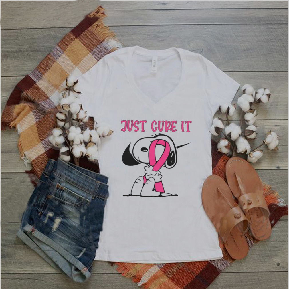 Snoopy hug Breast Cancer Just Cure It Nike Pink shirt