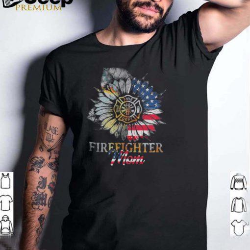 Sunflower Firefighter Mom American Flag shirt 1