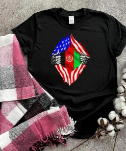 Super Afghan Heritage Afghanistan Roots USA Flag Tee Shirt