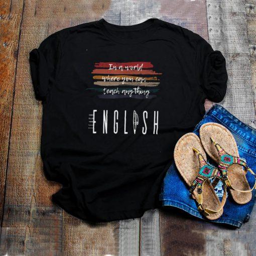 Teach English Back To School Grade Teacher Retro Vintage Shirt