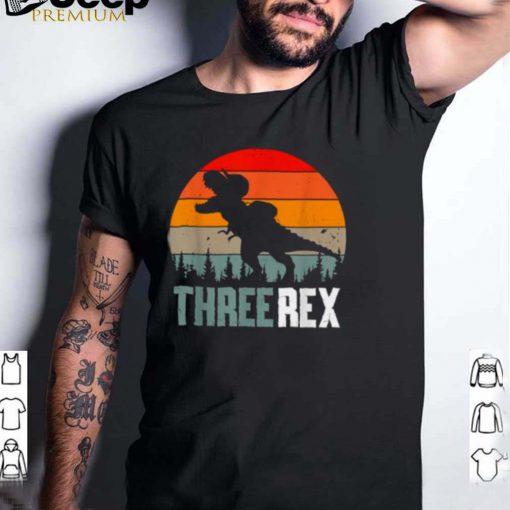 Three Rex 3rd Birthday Boy T Rex Dinousar 3 Years Old Vintage Sunset T Shirt