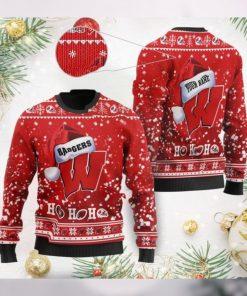 Wisconsin Badgers NCAA Symbol Wearing Santa Claus Hat Cute Pattern Ho Ho Ho Custom Personalized Ugly Christmas Sweater Wool
