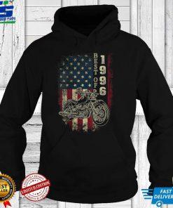 Womens American Flag Best Of 1996 Motorcycle Rider 25th Birthday V Neck T Shirt