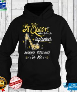 Womens Queen was Born in September Cute Funny Happy Birthday Gift V Neck T Shirt