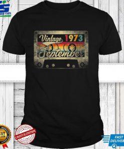 Womens September 1973 48th Birthday Gift 48 Years Old Retro Vintage V Neck T Shirt