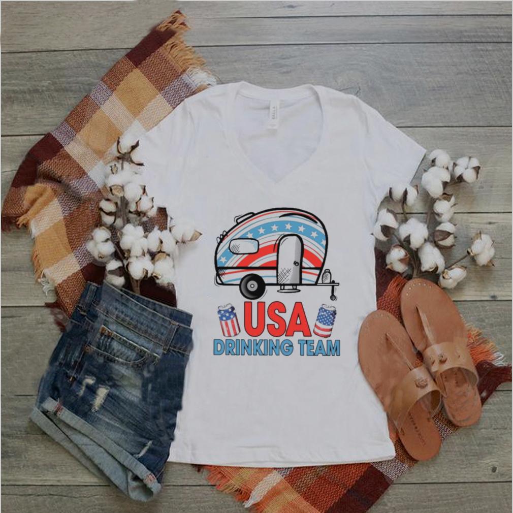camping usa drinking team american flag shirt